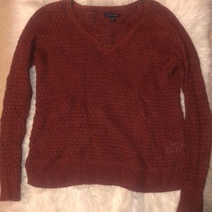 American Eagle Outfitters V-neck crochet sweater
